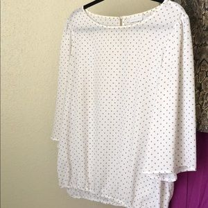 White and tan dotted top, sz L